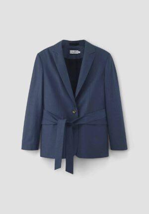 hessnatur Damen Blazer aus Bio-Schurwolle mit Bio-Baumwolle - blau - Größe 34