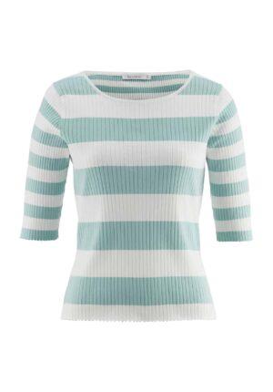 hessnatur Damen Kurzarm-Pullover aus Bio-Baumwolle - blau - Größe 34
