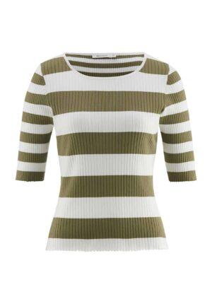 hessnatur Damen Kurzarm-Pullover aus Bio-Baumwolle - grün - Größe 34