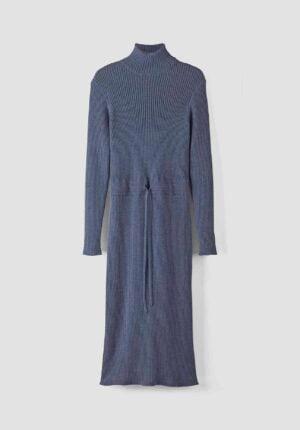 hessnatur Damen Strickkleid aus Bio-Baumwolle und Bio-Schurwolle - blau - Größe 34