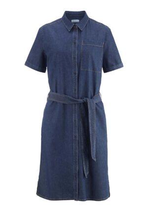 hessnatur Damen Jeans-Kleid aus Bio-Baumwolle mit Leinen - blau - Größe 34