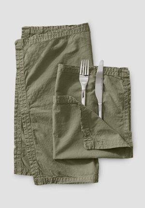hessnatur Perkal-Servietten aus Bio-Baumwolle im 2er-Set - grün - Größe 40x40 cm