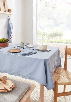 hessnatur Perkal-Tischtuch aus Bio-Baumwolle - blau - Größe 130x170 cm