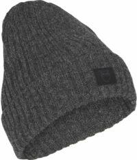 LEAF rib organic wool beanie - dark grey melange