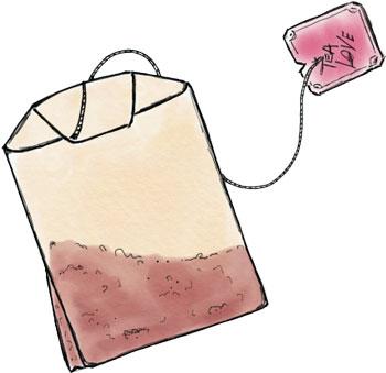 Doppelkammer Teebeutel Zeichnung