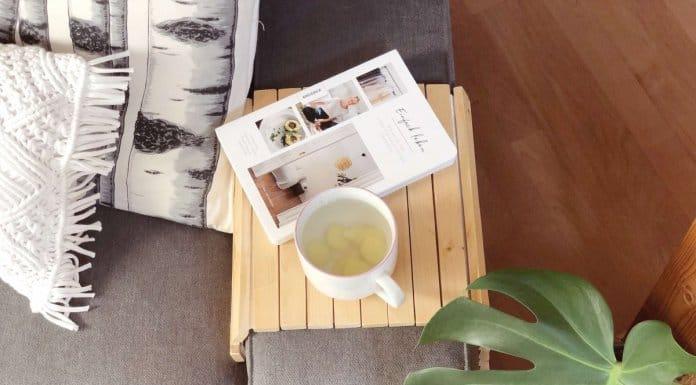 Sofatablett selbstgebaut mit Teetasse und Buch auf Sofa neben Monstera Pflanze und Makramee Kissen