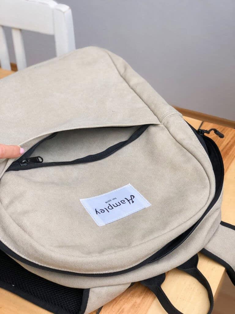 Hampley Rucksack in Natur Außentasche mit Reißverschluss