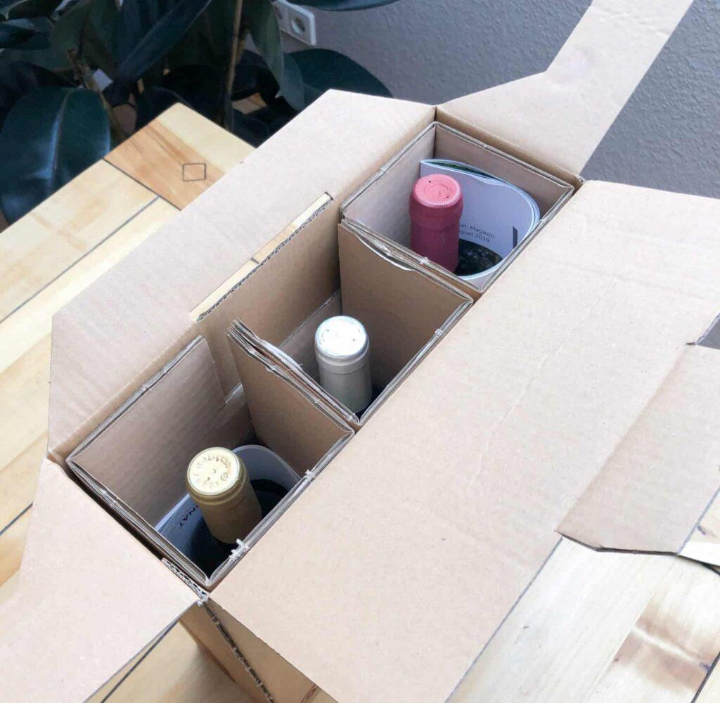 Delinat Bio-Weine werden im Recycling Karton geliefert