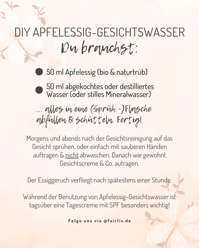 DIY Apfelessig Gesichtswasser selber machen