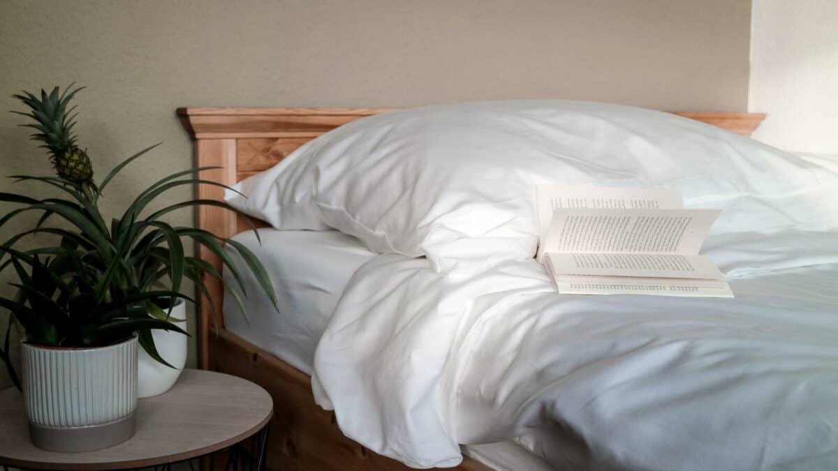 seit1832 nachhaltige Bettwäsche weiß Halbleinen mit Buch auf Bett neben grüner Pflanze
